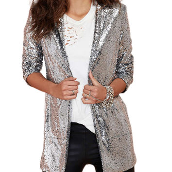 Side Pockets Sequined Long Sleeve Blazer