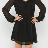 Sipping Sangria Long Sleeve Dress - Black - elle & k boutique