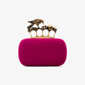 pink suede Box embellished clutch