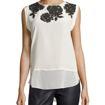 Rebecca Taylor Sleeveless Lace Top, Plush