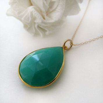 Blue Green Chrysoprase Teardrop Pendant Necklace, Blue Green, Green Gemstone, May Birthstone, Gold Filled Necklace, Gold Vermeil