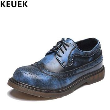 Spring Autumn Vintage Men Brogue Shoes Genuine leather Breathable Derby Shoes Casual Outdoor shoes Men Flats 022
