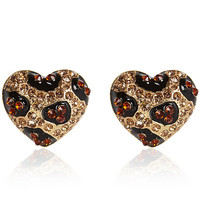 River Island Womens Gold tone rhinestone leopard heart earrings