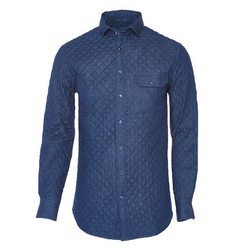 BUBBI Royal blue quilted denim shirt