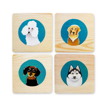 Set of 4 Dog Art Blocks, Wooden Wall Decor, Poodle, Golden Retriever, Dachshund, Siberian Husky Original Paintings, Dog Lover Gift 4x4x3/8