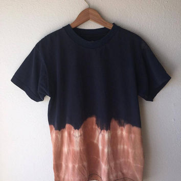SMALL Grunge Bleached Basic T-Shirt // Hand-Dyed Bleached Basic Tee Men's Small // 90s Grunge Aesthetic // Black & Bleach