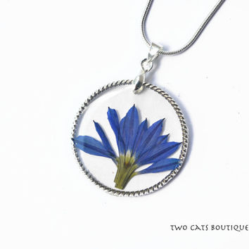 Blue flower in resin pendant - real flower necklace