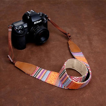 Orange Sony Stripe Handmade Leather Camera Strap Christmas Birthday Gifts 7222