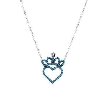 Neda Turquoise Heart Crown Pendant Necklace