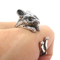 Hamster Gerbil Guinea Pig Shaped Animal Wrap Around Ring in Shiny Silver