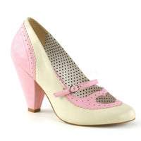 Poppy Heart Mary Jane Cone Heel Pump Pink