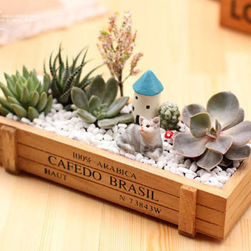 Wooden Succulents Pot Box , 22.5 * 8cm Rectangle Cacti Cactus Mini Garden Flower Planter Crate Storage Decor Decorative DIY Home