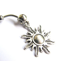 Sun Belly Button Jewelry,  Silver Sun Belly Ring