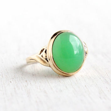 Antique 10k Yellow Gold Jade Ring- Vintage Early 1900s Art Nouveau Green Cabochon Fine Jewelry