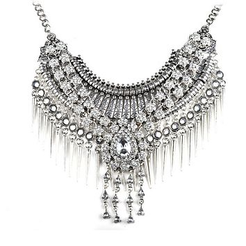 European Exaggerated Big Brand Foreign Trade Necklace Vintage Zircon Flower Tassel Two-layer Necklace Woman   old silver white zircon