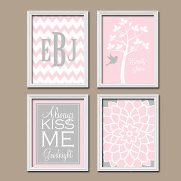 Pink Gray Wall Art Nursery Canvas Artwork Girl Custom Name Child Monogram Chevron Tree Bird Flower Kiss Me Goodnight  Print  Set of 4 Prints