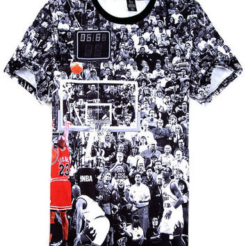 Black Emoji Hip Hop Michael 23 Lore Basketball Print Short Sleeve T-shirt
