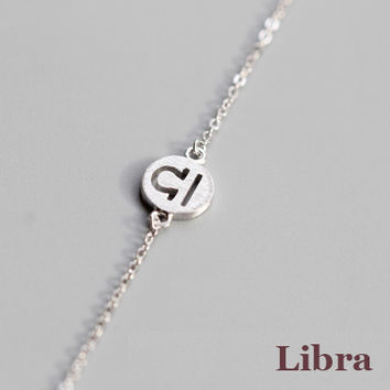 925 Sterling Silver 12 Constellation Bracelet (Libra)
