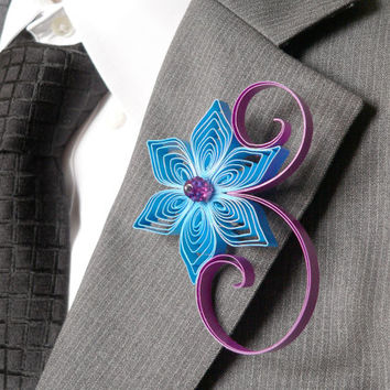 Mermaid Blue and Raspberry Boutonniere, Purple Wedding Groom Flower, Blue Wedding Gift, Father of the Groom, Wedding Day Groom
