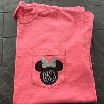 Minnie Mouse Inspired Monogram Glitter Comfort Colors T-Shirt // Personalized Vacation Shirt // Glitter Monogram Shirt