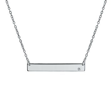 Sideways Bar Name Plated Pendant Birth Month Crystal Necklace Silver