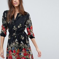 Yumi 3/4 Sleeve Belted Dress in Floral Border Print at asos.com