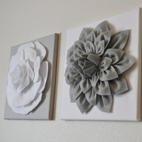 Two Gray Dahlia and White and White Rose on Gray Canvases