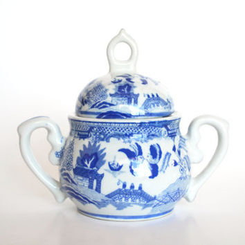 Vintage Blue and White Ironstone Lidded Jar Transferware