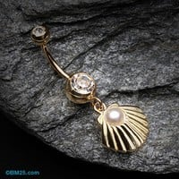 Golden Ariel's Shell Dangle Belly Button Ring