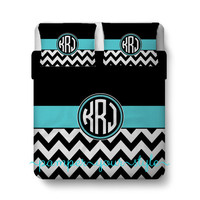Circle Monogram Bedding and Sham(s) -  Black and white Chevron with Accent - Personalize with Name or Monogram - Create your Bedding
