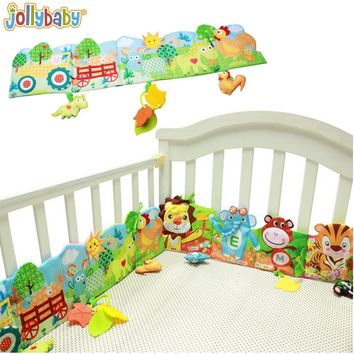 1pcs Jollybaby Baby Bed Crib Bumper Cartoon Animal Cloth Book Educational Knowledge Around Multi-touch