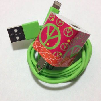 Customized Peace and moroccan trellis Phone charger in different USB color