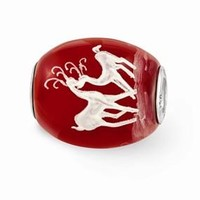 Sterling Silver Red Hand Painted Christmas Glass Bead