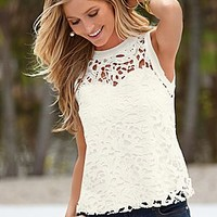 White (WH) Crochet Lace Overlay Tank