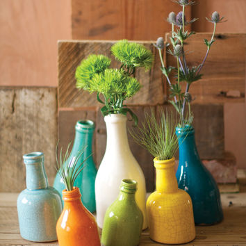 Set of 7 Ceramic Slanted Bottle Bud Vases- Bright
