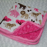 Pink Jungle Tales Minky Blanket- Ready to ship