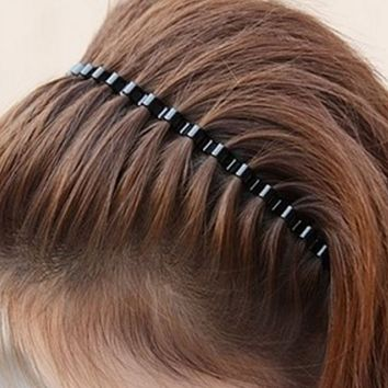 Fashion Mens Women Unisex Black Wavy Hair Head Hoop Band Sport Headband Hairband hair accessories High Quality