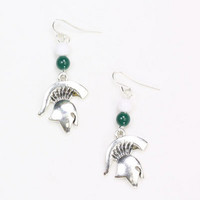 Michigan State Spartans Logo With Beads Womens Earrings