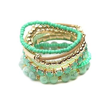 RIAH FASHION Multi Color Stretch Beaded Stackable Bracelets  Layering Bead Strand Statement Bangles