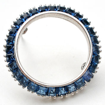 Sterling Silver Sapphire Blue CZ Circle Brooch Pin