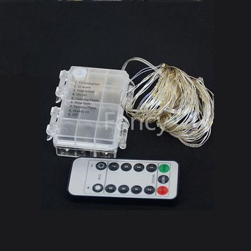 New Remote Control & Timer 3X AA Battery Powered 10M 33ft 100 Led Christmas Fairy Lights Silver Wire Starry String Light luces
