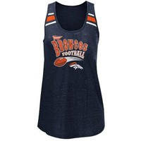 Denver Broncos Ladies Tri-Blend Scoop Neck Racerback Tank Top - Navy Blue
