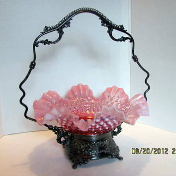 Fenton Brides Basket From the Victorian Era with Ornate Silverplate Holder