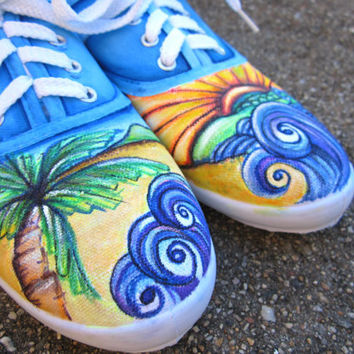 Beach waves: Hand painted Canvas Shoes