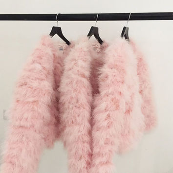 Baby Pink Fluffy Feather Jacket Marabou Winter Womens Clothing Outerwear Warm Coat Eveningwear
