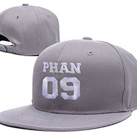YUDUODUO Phan 09 Dan Howell Phil Lester Adjustable Embroidery Snapback Hat Cap - Grey