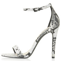RUBY Snake Effect High Heel Sandals - Monochrome