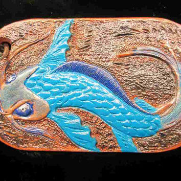 Koi keychains, custom tooled koi fish, key rings, key chains, blue koi fish, red koi fish, key fobs