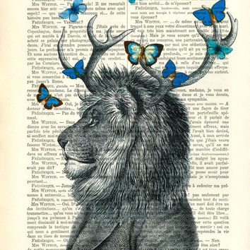 LION with antler dictionary art print - lion with blue butterflies antique book page dictionary art - lion portrait dictionary page