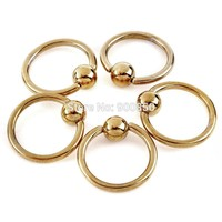 Gold Stainless Steel Body Jewelry - Eyebrow / Lip / Ear / Labret / Tongue - Ring/Bar - 16G/17G/18G/19G - 1 PC
